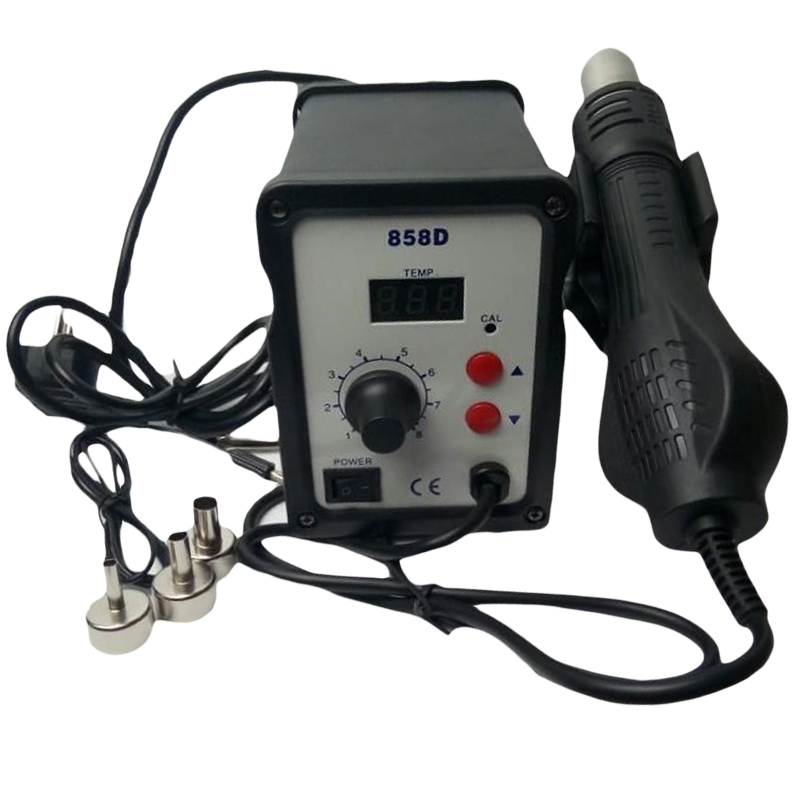 THGS Hot Air Gun Desoldering Soldering Rework SMD Station 3 Nozzles For Yihua 858D