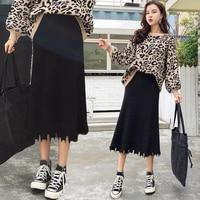 Office Lady Solid Tassel Skirts Womens A line Mid Long Skirt Jupe Femme Elegant Knit Step Skirt Fashion Pastel Loose Skirt
