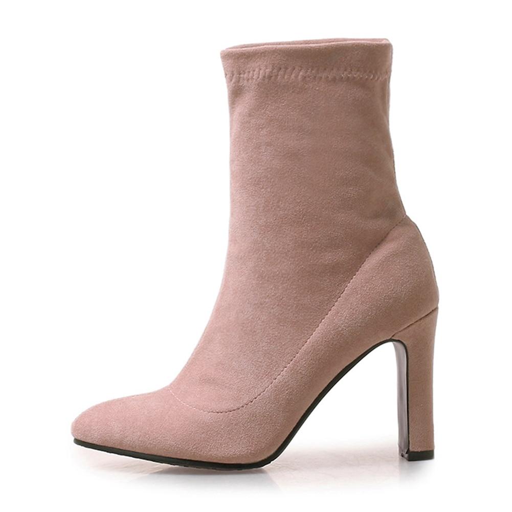 De Super 9 Suave rosado Más Tacones Tobillo Alta Mujeres Mujer Cuadrados gris Cubierta Moda Negro Zapatos Cm Botas 43 Doratasia Tamaño 33 Elegante qPHBO