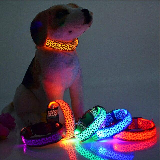 Collare di Cane Del LED Flash di Luce Del Leopardo Del Collare Del Cucciolo di N