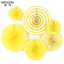 HAOCHU 6pcs/set Bright Yellow Theme Holiday Supplies Hand Pa