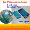 10 unids marco embellecedor frontal para iphone6 6 s whit cristal para iphone 6 plus 6 splus 7 más lcd marco medio vivienda fría pegamento