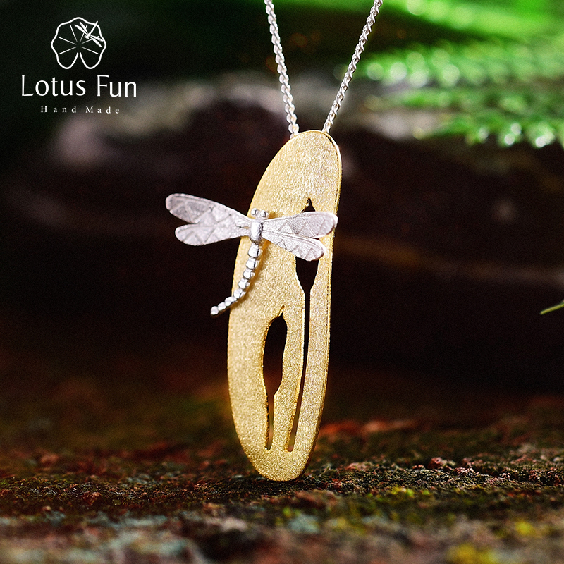 Lotus Fun Real 925 Sterling Silver Handmade Fine Jewelry Leaf and Dragonfly Design Pendant without Chain Acessorios for Women lotus fun real 925 sterling silver handmade fine jewelry creative cat playing balls pendant without chain acessorios for women