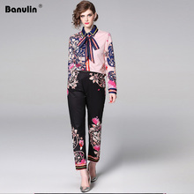 Banulin Fashion Designer Runway Suit Sets 2019 Spring Long Sleeve Floral Bow Print Tops + Pants 2 Piece Set Women B7586