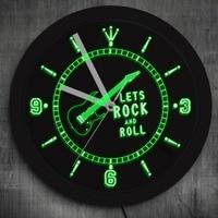 1Piece Rock Guitar LED Neon Effect Wall Clock Modern Design Wall Watch Rock N Roll Music Pub Bar Wall Art Luminous Wall Clock