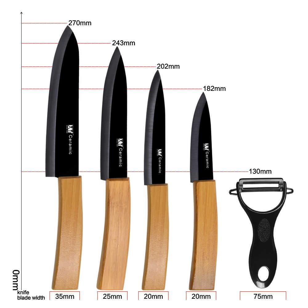 XYj 5 sztuk ceramiczny zestaw noży uchwyt bambusowy czarne ostrze wygodny uchwyt noże kuchenne darmowe okładki gadżety kuchenne akcesoria