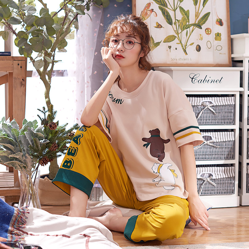 Image 2 - New Women Pyjamas Cotton Short Tops Set Female Pajamas Set NightSuit Sleepwear Sets Long Pants Night Home Clothes For Women-in Pajama Sets from Underwear & Sleepwears