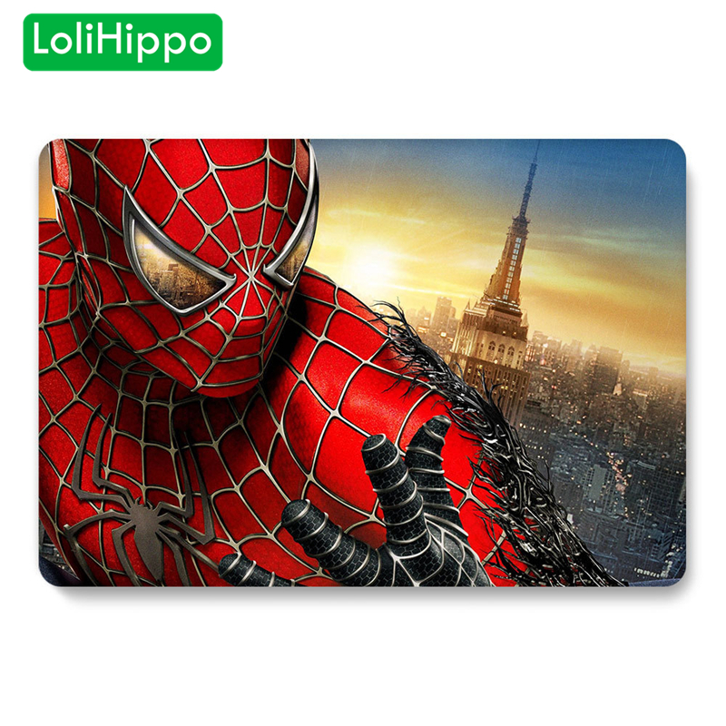 LoliHippo Animation Series Spider Iron Man Laptop Protective Case For Macbook Air Pro Retina Notebook Cover A1990 A1278 A1706