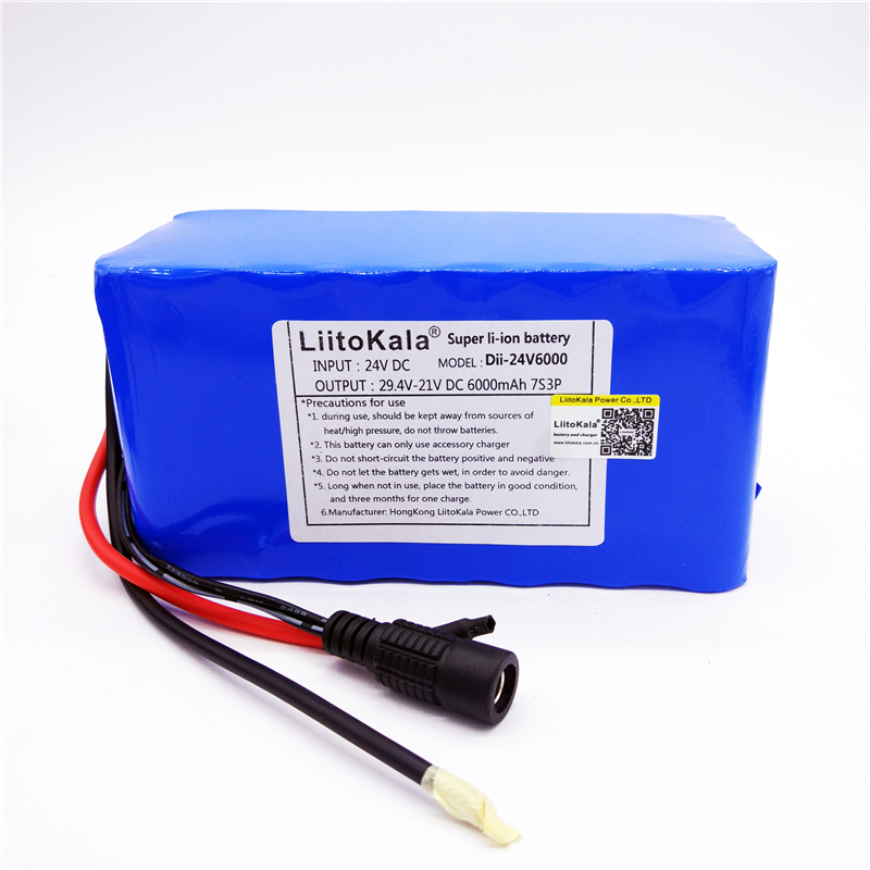 HK LiitoKala 24 В 6Ah 7S3P 18650 литий-ионный Батарея 29,4 В 6000 мАч для электрического велосипеда