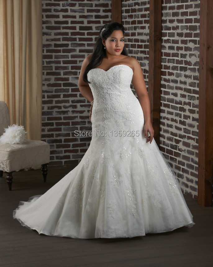 Plus Size Wedding Dresses Fat Women Top Lace Bride Gowns Mermaid Up Back Organza Vestidos De Noiva Y Free Shipping Aw310