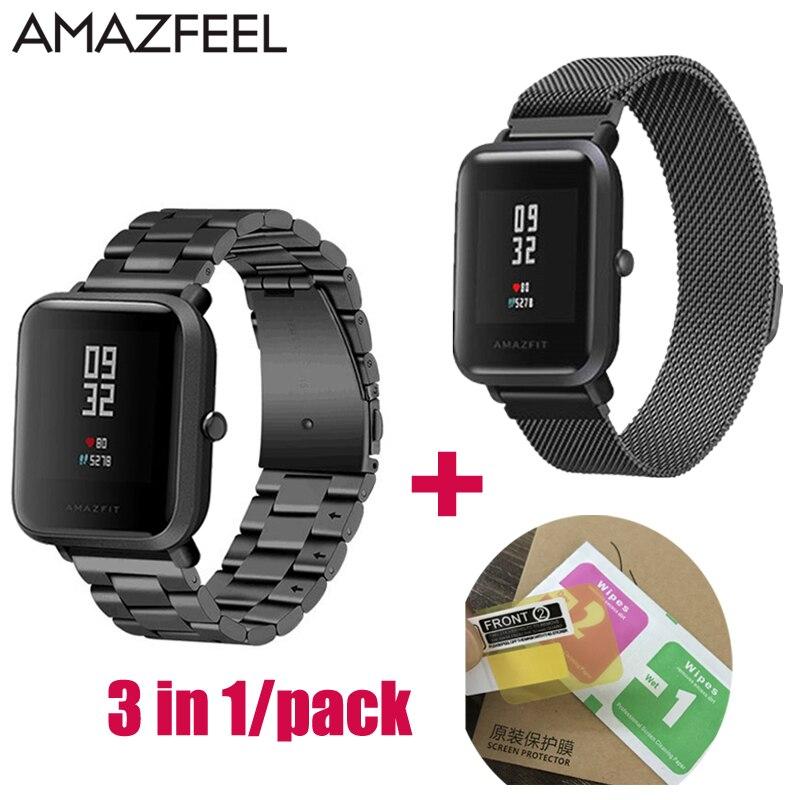 20mm Uhrenarmband für Amazfit Band Stahl für Xiaomi Huami Amazfit Jugend Bip BIT Smart Uhrenarmbänder Metall Edelstahl armband