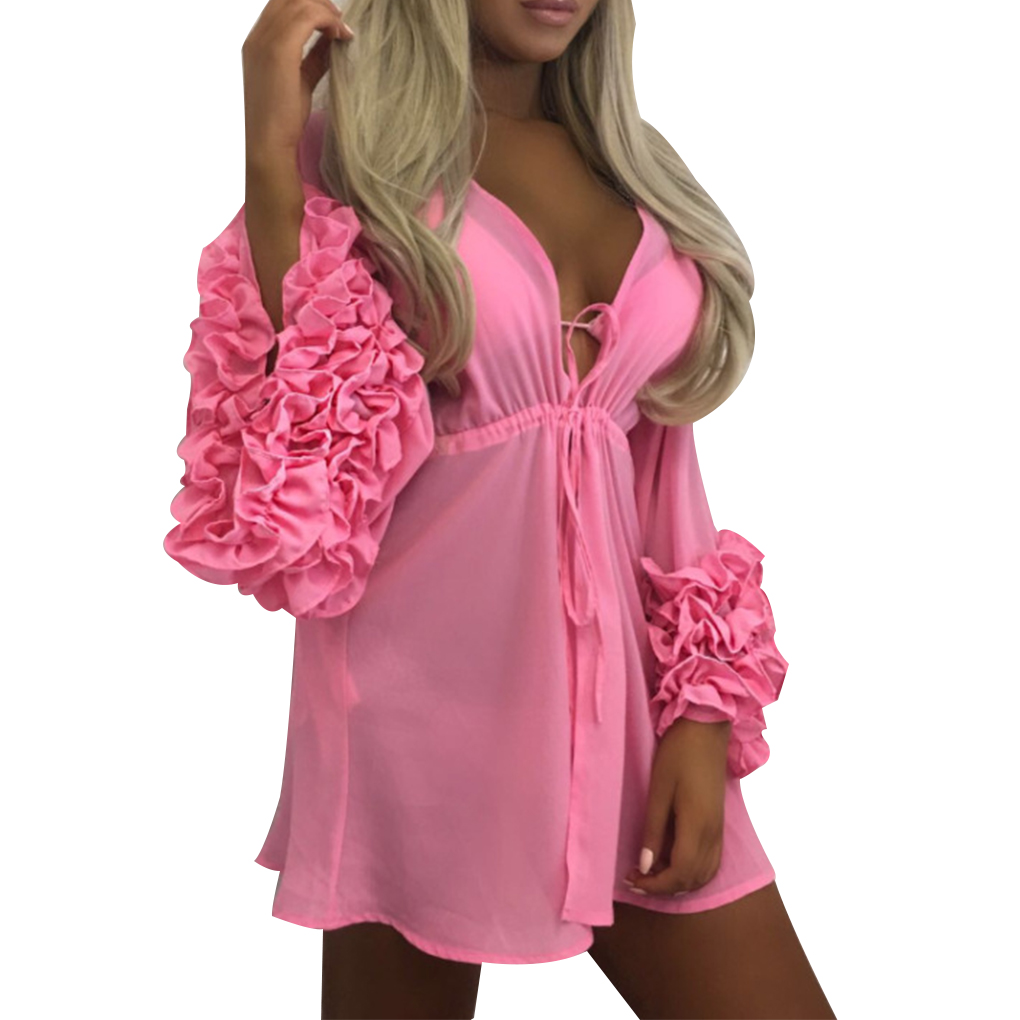 Women Sexy Beach Cover-up Long Puff Sleeve Bathing Suit Summer Beach Wear Pareo Swimwear ...