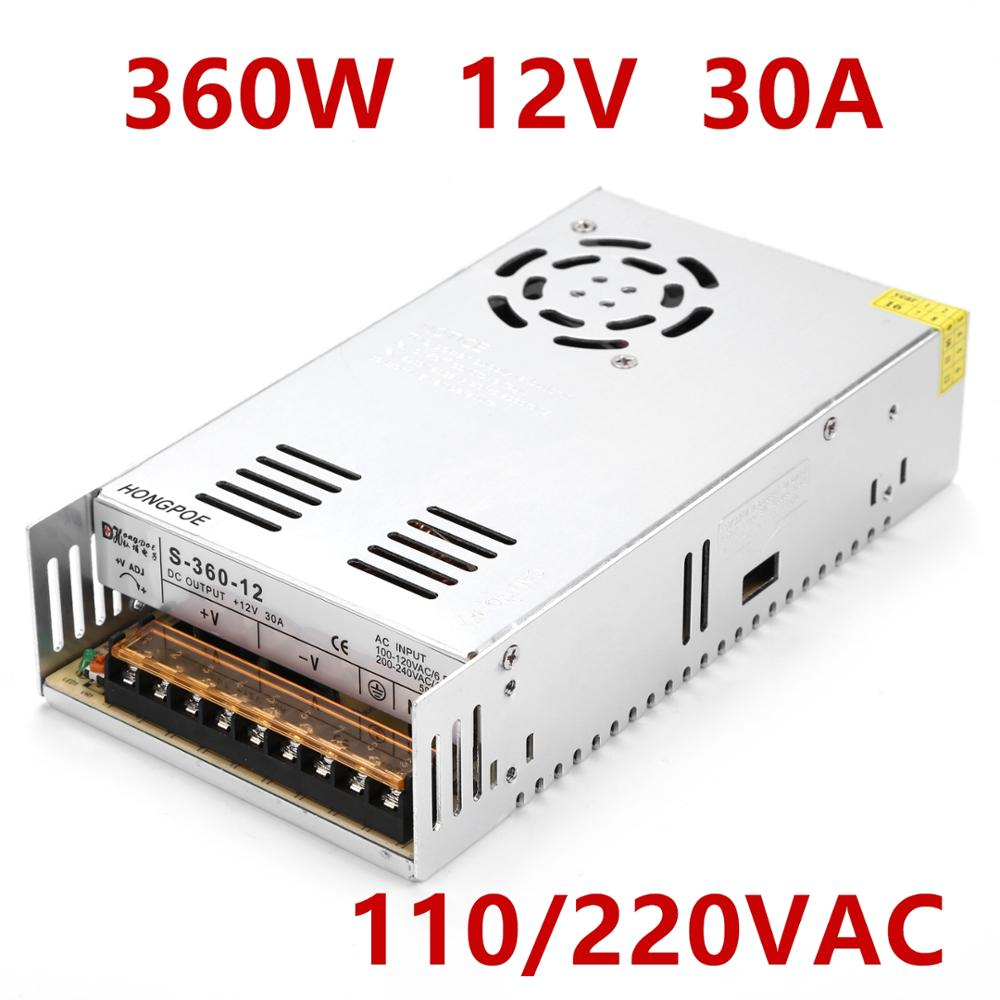 36PCS Best quality 12V 30A 360W Switching Power Supply Driver for LED Strip AC 100-240V Input to DC 12V30A best quality 12v 30a 360w switching power supply driver for led strip cctv 3d print ac 100 240v input to dc 12v free shipping