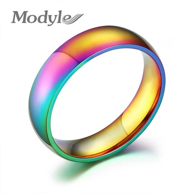 Modyle 2018 anillo de compromiso de boda de Color dorado para mujer Arco Iris Gay joyería regalo para chica Bijoux anillos de mujer