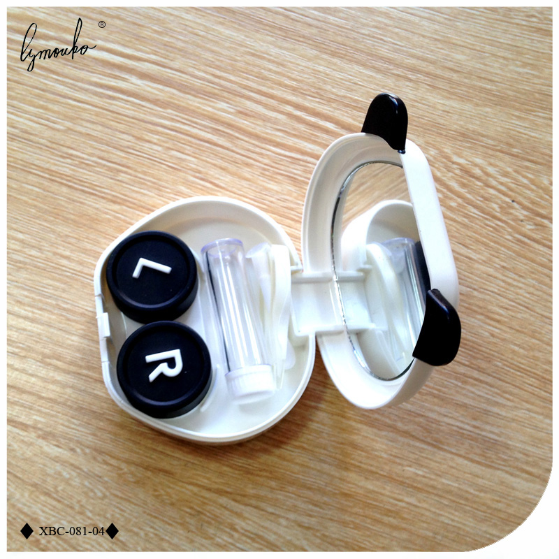 Lymouko Lovely White Color Panda Design Holder Contact Lens Case with Mirror Portable Container Lenses Box for Women