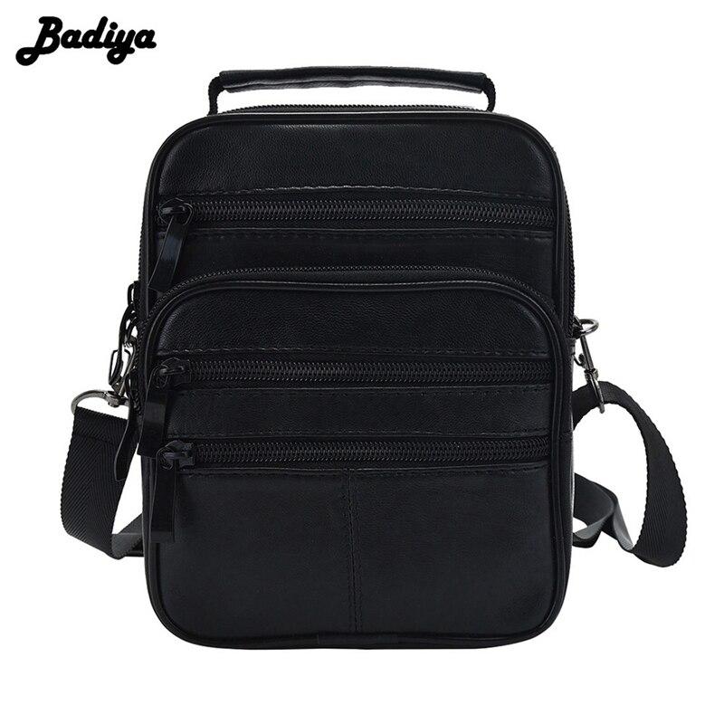 Genuine Leather Men Messenger Single Shoulder Bag Crossbody Pack 4 Size Black Handbag Multi-functional Portable Bags Male Bolsa