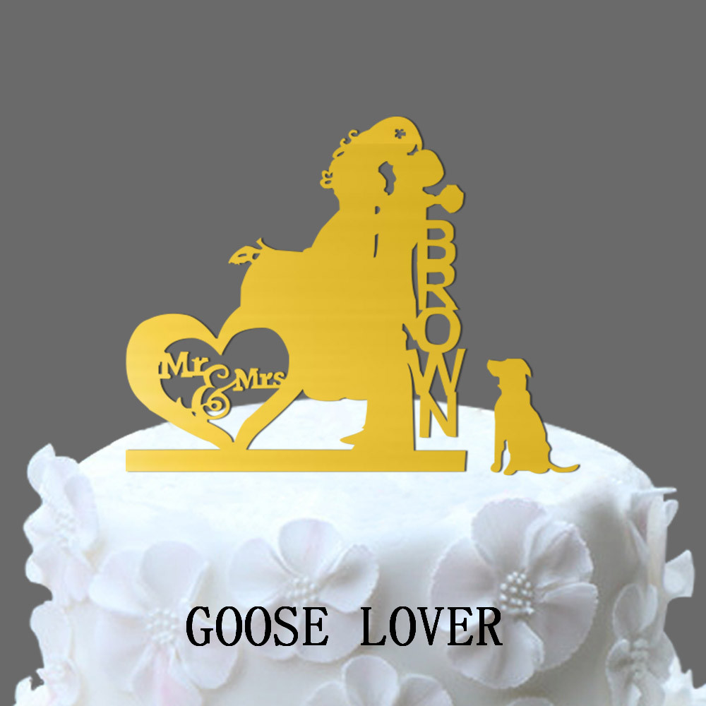 Personalize Name Acrylic Wedding Cake Topper,Silhouette Couple Mr ...