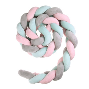 Image 4 - 200cm Baby Bed Bumper Four Ply Knot Handmade Long Knotted Braid Weaving Plush Baby Crib Protector Infant Knot Pillow Room Decor