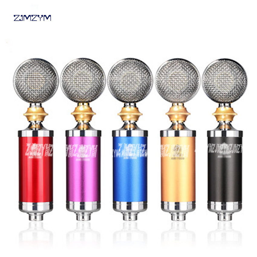 3.5mm plug USB professional wired microphone for computer condenser microphone karaoke Standard 3V AW 7000 red/blue /black /gold