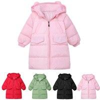 MUQGEW Hot Sale Baby Girls Boys Kid Clothes Solid Fashion Hooded Down Loog Sleeve Jacket Winter