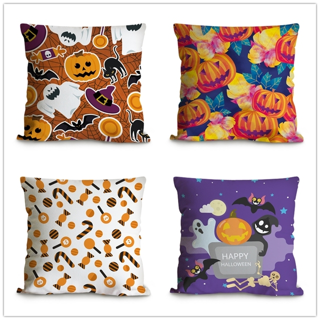 Halloween Cushion CoverCanvas Decorative Pillows Case Halloween Inspiration Halloween Pillows Decorations