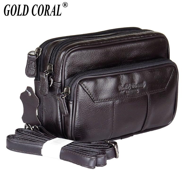 Genuine Leather Waist Belt Bag Men Small Messenger Bags Casual Shoulder Bag Phone Pouch Purse Bags Male Travel Fanny Waist Pack