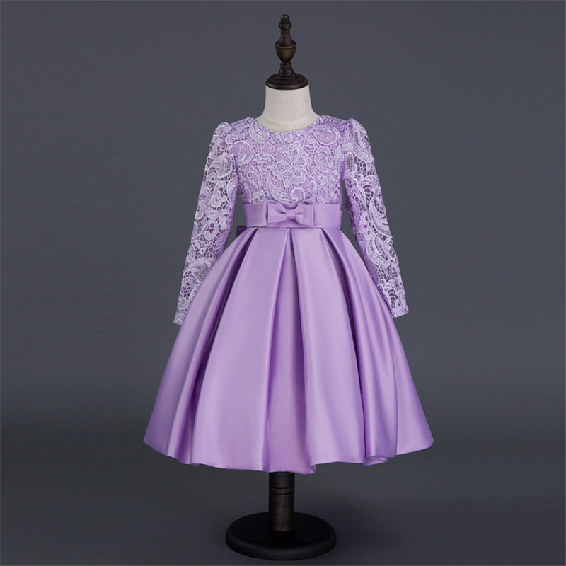 Children's Day Boutique Flower Dress Long Sleeve Summer Princess Mesh Floral Bow Purple Dress for Kids Girl Evening Party floral flower printed ball gowns with belt 2016 summer o neck short sleeve princess dress for party frocks evening prom dress