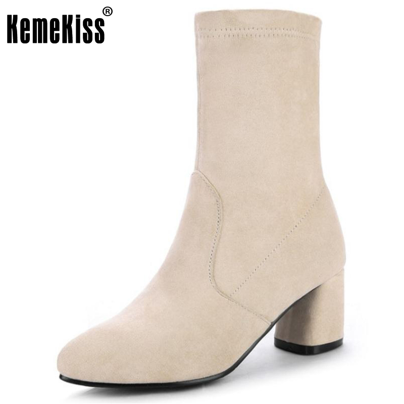KemeKiss Lady Slip On Mid Calf Boots Woman Shoes Solid Color Preppy Chic Warm Boots Office