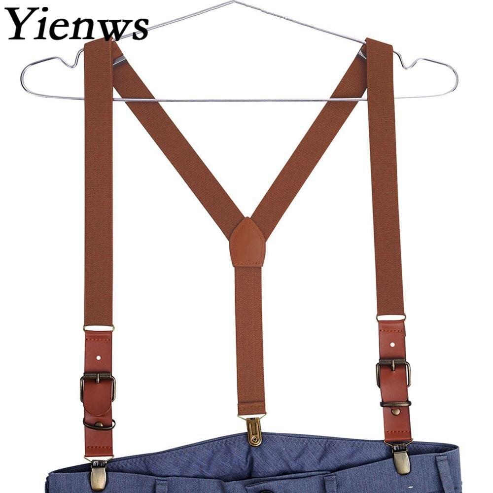 Yienws Männer Braun Hosenträger Männlichen 3 Clip Vintage Hosen Brace Strap PU Patch Bretels Burgund Tirantes Hombre 115 cm YiA040