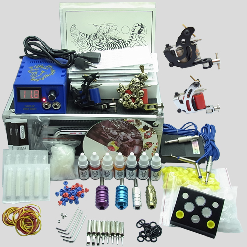 Complete Tattoo Kits for Beginner Body Tattoo Art 2 Tattoo Machine Guns Power Supply 7Colors Tattoo Inks 50 Needles рубашки mango man рубашка davidb