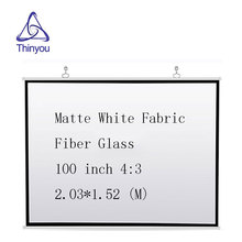 Thinyou Matte White Fabric Fiber Glass 100 inch 4:3 projector screen Wall Mounted curtain Home Theater Or Business Meeting