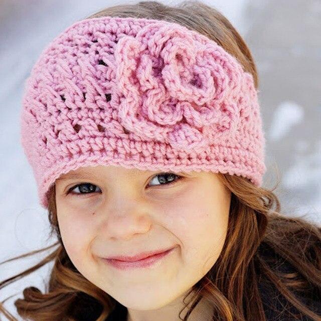 Neue Ankunft Baby Mädchen Häkeln Stirnband Mit Große Blume Winter