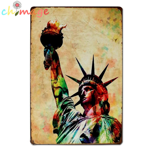 Colorful Statue of Liberty Vintage Tin Sign Bar pub home Wall Decor ...
