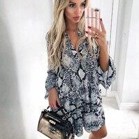 af741611fa COZARII 2018 Vestidos Feminina Dress England Style Single Breasted Print  Snake Skin Puff Sleeve V Neck