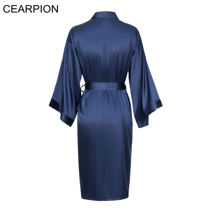 CEARPION Summer New Bride Bridesmaid Wedding Robe Sexy Lady Solid Colors Sleepwear Satin Nightwear Women Kimono Bathrobe Gown