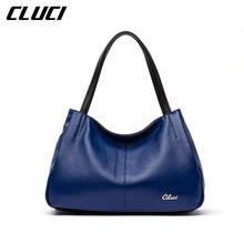 CLUCI Women Designer Handbag Vintage Zipper Genuine Leather Soft Black/Red/Blue Leather Casual Tote Top-handle Shoulder Bags