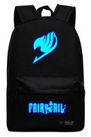 Hot Anime Fairy Tail Natsu Backpack Magic Guild Luminous Logo Unisex School Bag Backpack Blue Noctilucent Glow Backpack Cosplay