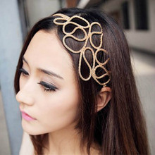 New Hot Fashion Hollow Out Braided Gold Head Band Stretch Hair Accessories Girl