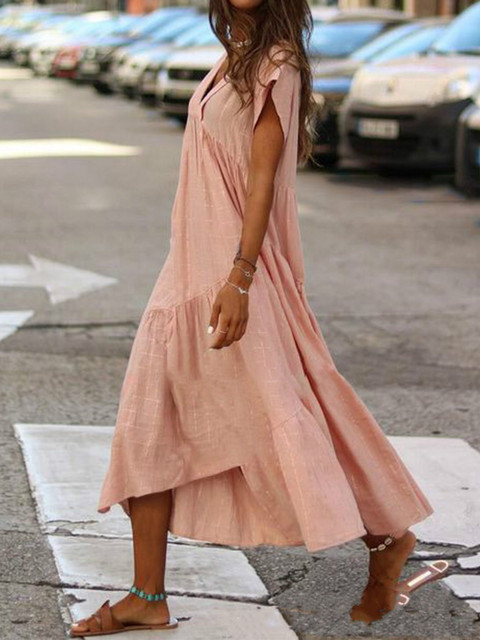 WEPBEL Women Dress V Neck Irregular Solid Color Short Sleeve Summer Casual Beach Loose Plus Size Long Ladies Dresses 3