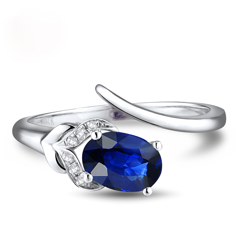 AU750 White Gold Ring Diamond Oval Cut Sapphire Ring In 18K Solid