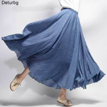 Для женщин элегантные Высокая Талия льняная длинная юбка летние женские Повседневное с эластичной резинкой на талии, 2 слоя юбки saia feminina 20 Цвета SK53