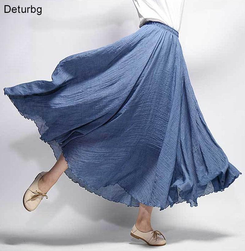 Женская элегантная льняная юбка макси с высокой талией 2018 Летняя женская повседневная Двухслойная юбка с эластичной резинкой на талии saia feminina 20 цветов SK53|saia feminina|maxi skirtlinen maxi skirt | АлиЭкспресс
