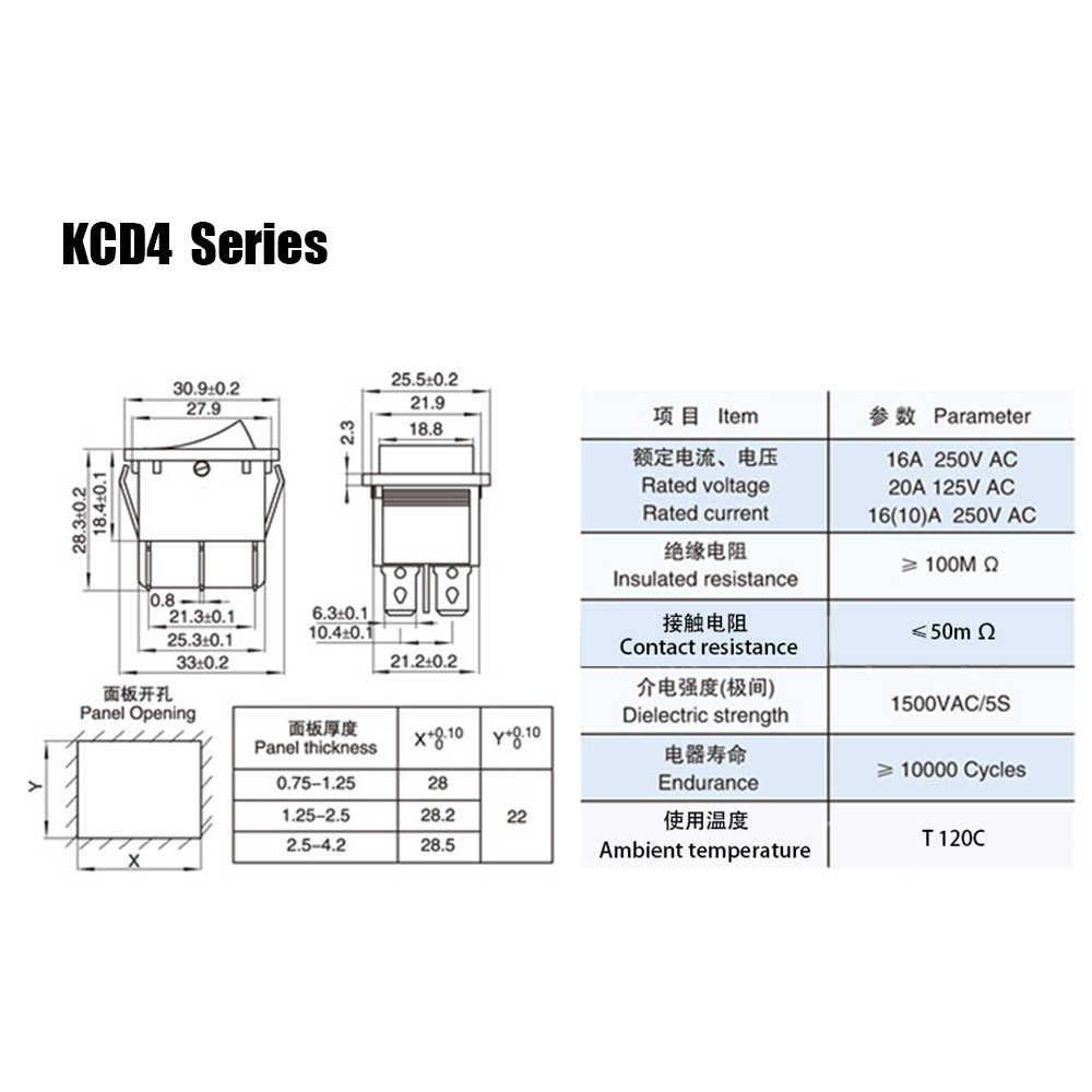 KCD4 الروك التبديل زر ON OFF 2 موقف 4 دبابيس 6 دبابيس المعدات الكهربائية مع مفتاح الطاقة الخفيفة 16A 250VAC التيار المتناوب 250 فولت