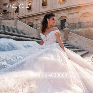 Image 5 - Ashley Carol Chữ A Áo Cưới 2020 Đầm Ren Công Chúa Lệch Vai Pha Lê Appliques Người Yêu Cô Dâu Đồ Bầu Đầm Vestido De Noiva