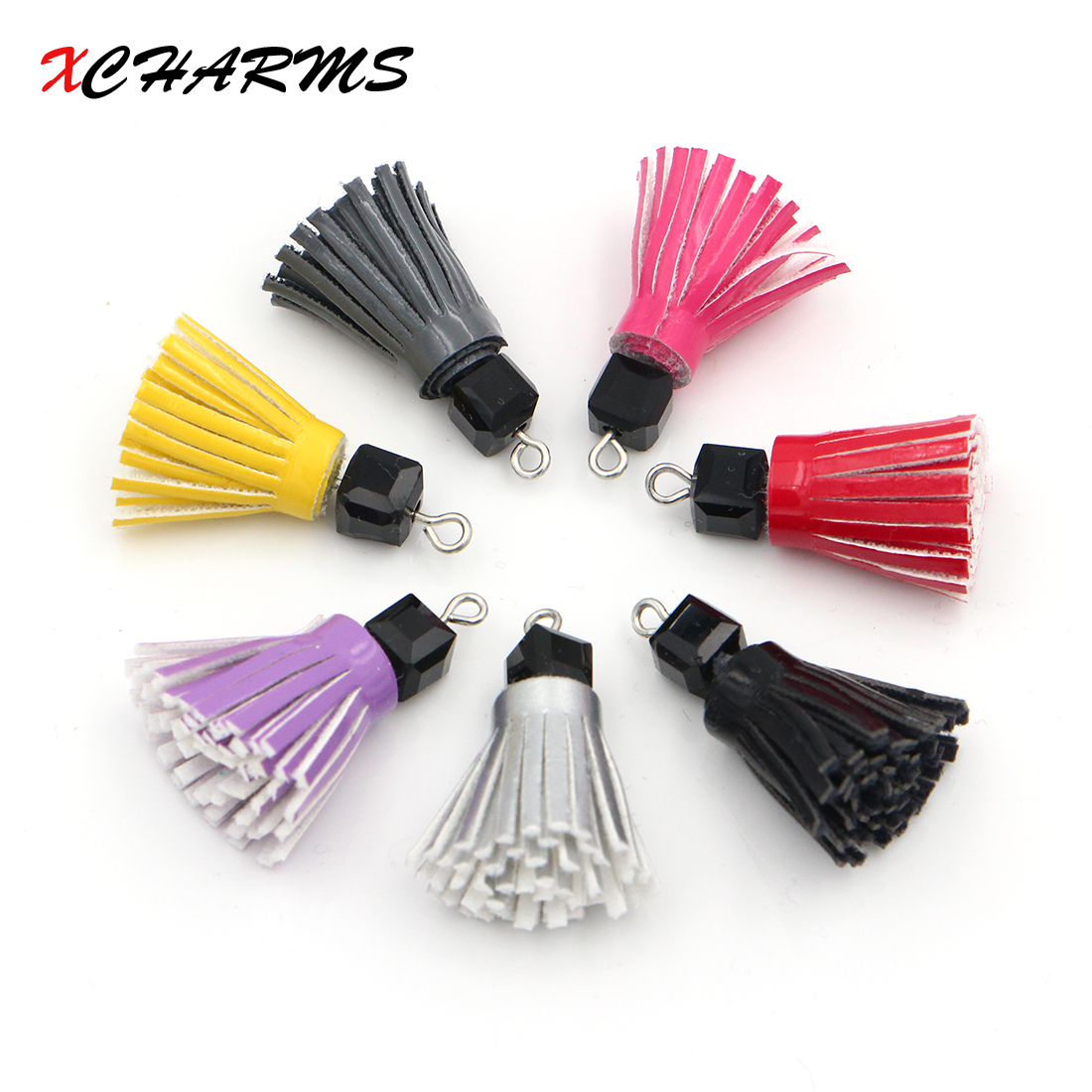 XCHAMRS 1Piece 7*10mm Diy PU Leather Tassel For Jewelry Making DIY Acessories Suede Tassels for Key Rings for earring making ...