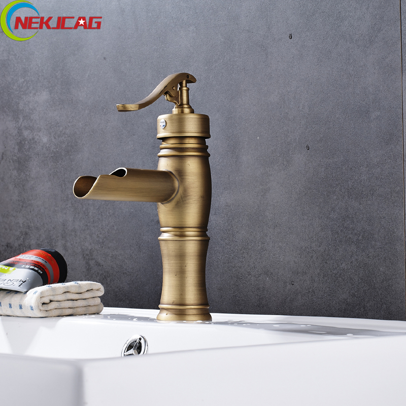 Antique Brass Waterfall Bathroom Basin Sink Faucet Single Handle Lavatory Vanity Mixer Tap Free Shipping free shipping brass rose golden lavatory sink basin faucet one handle single hole bathroom vanity sink mixer taps