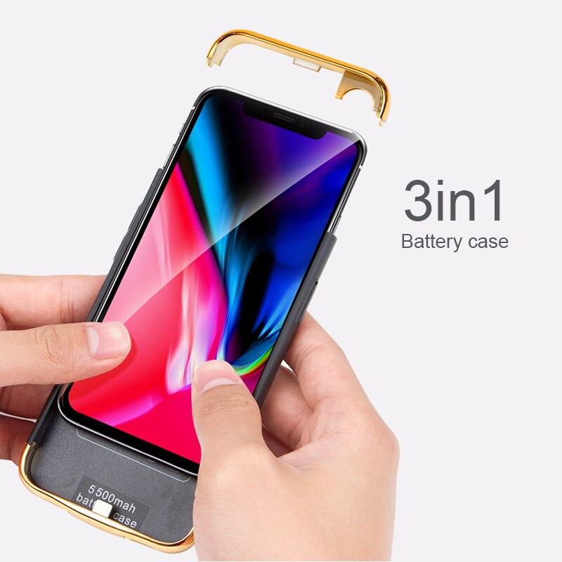3in1 Ultra-Mince Shell Pour iphone X 2017/Xs 2018 Batterie Cas Rechargeable Externe Portable Puissance banque Chargeur cas de couverture