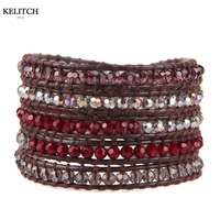 KELITCH Cina All'ingrosso Multistrati di Cristallo Borda I Braccialetti Handmade DIY Colorful Genuine Leather Wrap Fibbia Argento Bijoux