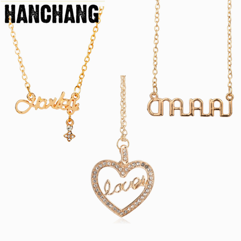 Fashion Suicide Squad Harley Quinn Jewelry accessories Name Necklace Link Chain Heart Letters Pendant Necklace Female Girls Gift ...