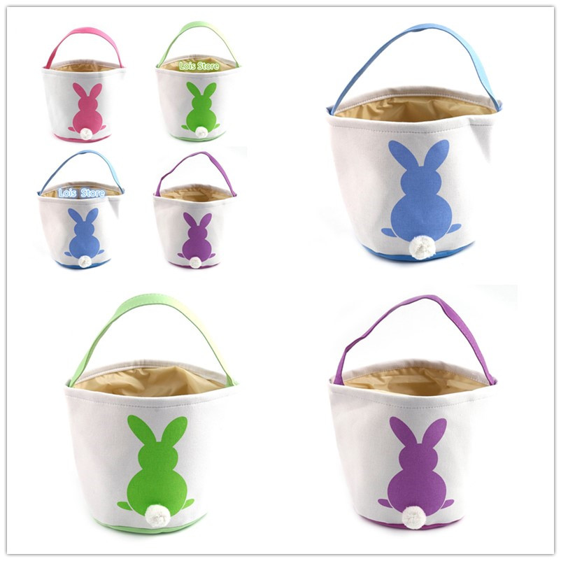 50pcs lot Easter Basket Bag 18 Styles Easter Bunny Bags Blank Easter Bunny Tail Buckets For